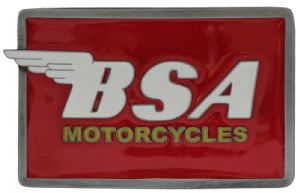BSA Oblong red/white Belt Buckle with display stand. Code MB1